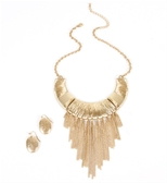 Gold bib fringe necklace-$16