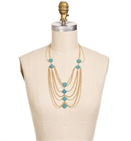 Gold and turquoise necklace-$13