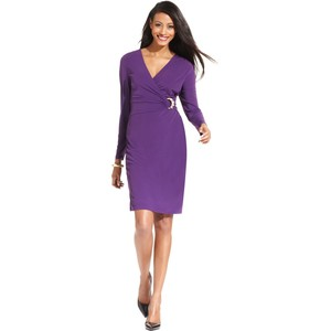 Long sleeve faux wrap dress-$39