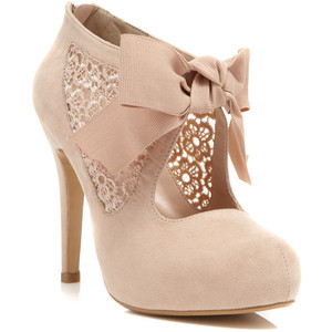 Nude bootie with bow-$80