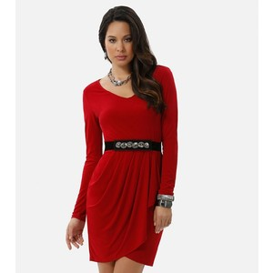 Faux wrap red dress-$22