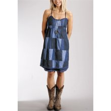 Patchwork denim dress-$56 (like it with the boots!)