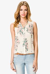 Floral pintuck top-$20