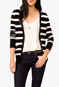 This cardigan is SO comfy and the stripes are subtle-don't make you dizzy!  I bought this to wear with a polka dot top-$25