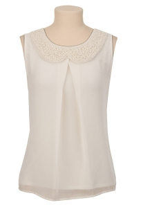 LOVE the feminine look of this top-the pearl collar is very nice.  The back of the shirt is T-shirt material-which I thought was a little weird-but I still love it with a jacket for work and with sophisticated black bermuda shorts and stunning wedges for going out-$29