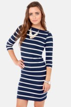 Love this striped dress-would look great with red jewelry or shoes-$33