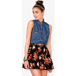 This sleeveless chambray top looks fabulous with the skirt and the price is right-$18
