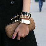 Stacking bracelets is an arm party.  Photo courtesy of fabsugar.com.