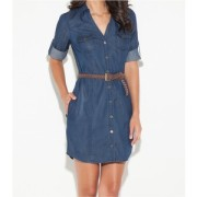 This shirt dress can transition from spring/summer to fall!