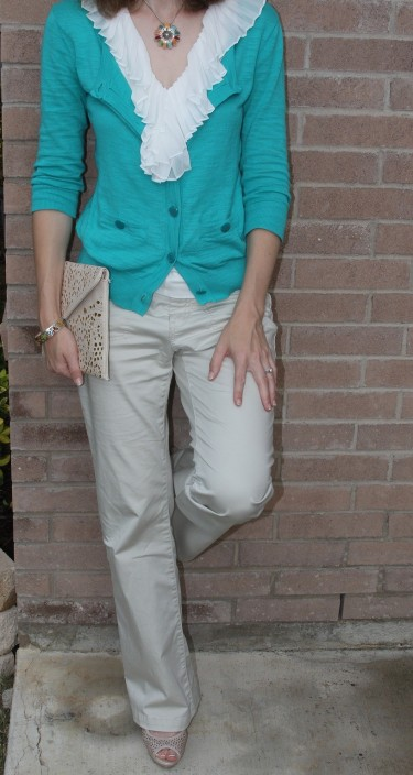I love feminine touches, like ruffles and lace.  I wanted to add some fun color to this outfit, so I layered with the aqua cardigan.